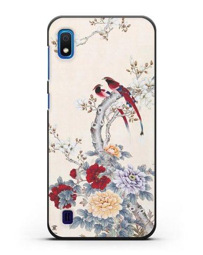 Чехол Цветы и птицы силикон черный для Samsung Galaxy A10 [SM-A105F]