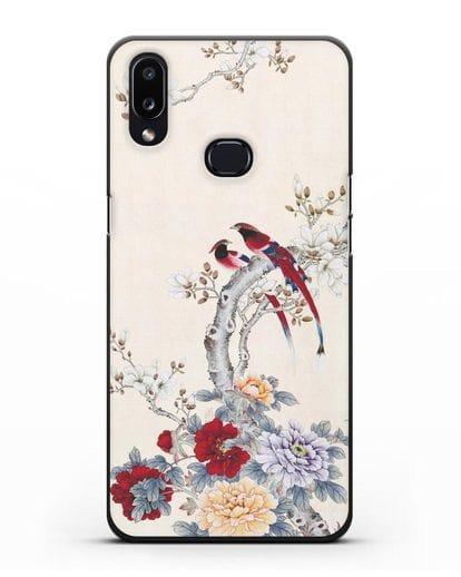 Чехол Цветы и птицы силикон черный для Samsung Galaxy A10s [SM-F107F]