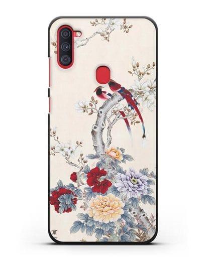 Чехол Цветы и птицы силикон черный для Samsung Galaxy A11 [SM-A115F]