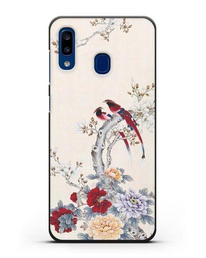 Чехол Цветы и птицы силикон черный для Samsung Galaxy A20 [SM-A205FN]