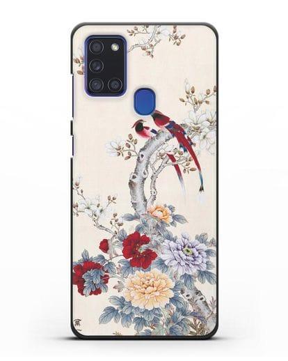 Чехол Цветы и птицы силикон черный для Samsung Galaxy A21s [SM-A217F]