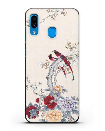 Чехол Цветы и птицы силикон черный для Samsung Galaxy A30 [SM-A305FN]