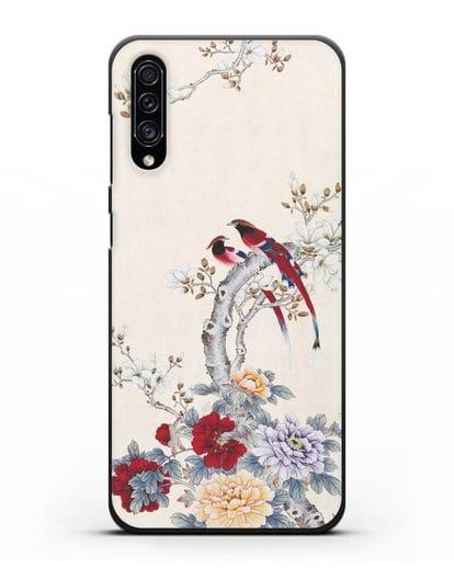 Чехол Цветы и птицы силикон черный для Samsung Galaxy A30s [SM-A307FN]