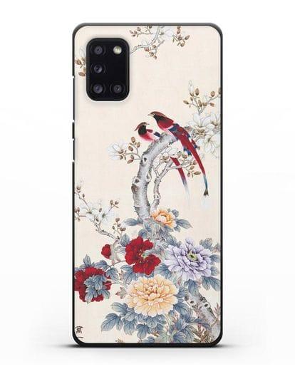 Чехол Цветы и птицы силикон черный для Samsung Galaxy A31 [SM-A315F]