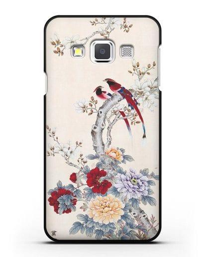 Чехол Цветы и птицы силикон черный для Samsung Galaxy A3 2015 [SM-A300F]