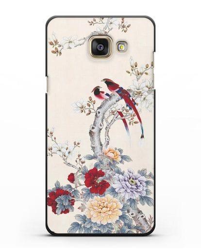 Чехол Цветы и птицы силикон черный для Samsung Galaxy A3 2016 [SM-A310F]