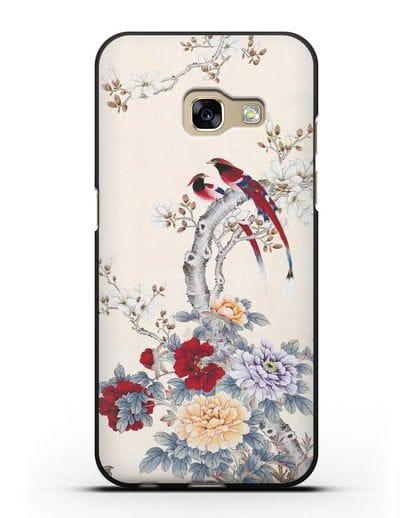 Чехол Цветы и птицы силикон черный для Samsung Galaxy A3 2017 [SM-A320F]