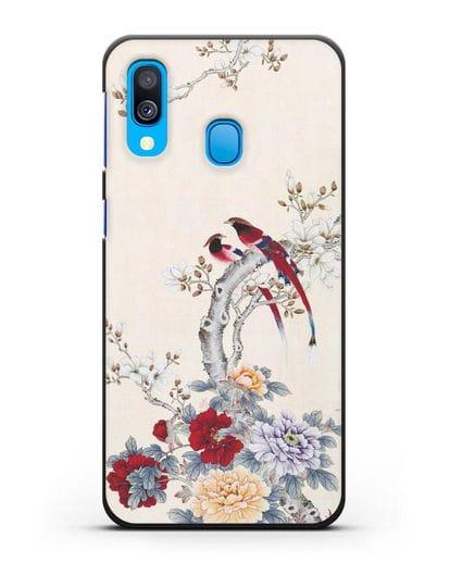 Чехол Цветы и птицы силикон черный для Samsung Galaxy A40 [SM-A405F]