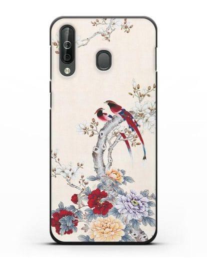 Чехол Цветы и птицы силикон черный для Samsung Galaxy A40s [SM-A507FN]