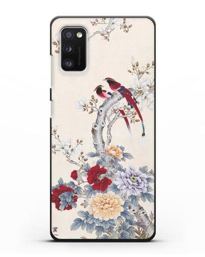 Чехол Цветы и птицы силикон черный для Samsung Galaxy A41 [SM-A415F]