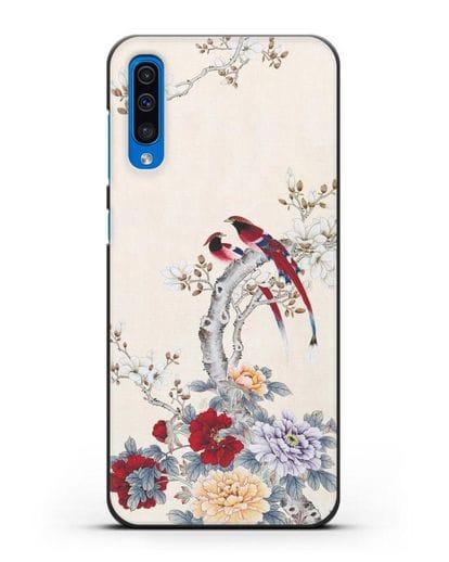 Чехол Цветы и птицы силикон черный для Samsung Galaxy A50 [SM-A505F]