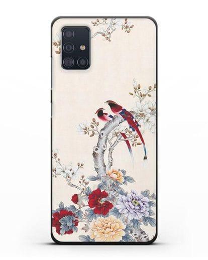 Чехол Цветы и птицы силикон черный для Samsung Galaxy A51 [SM-A515F]
