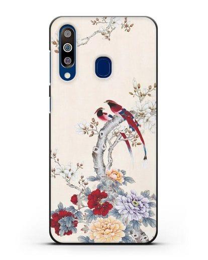 Чехол Цветы и птицы силикон черный для Samsung Galaxy A60 [SM-A606F]