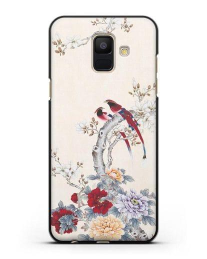 Чехол Цветы и птицы силикон черный для Samsung Galaxy A6 2018 [SM-A600F]