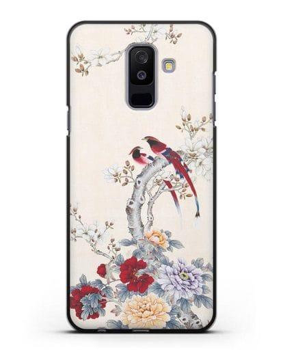 Чехол Цветы и птицы силикон черный для Samsung Galaxy A6 Plus 2018 [SM-A605F]