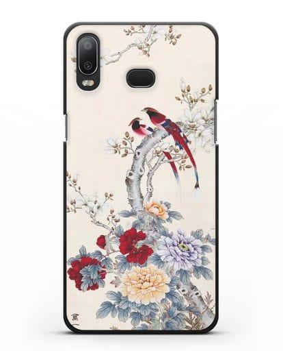Чехол Цветы и птицы силикон черный для Samsung Galaxy A6s [SM-G6200]