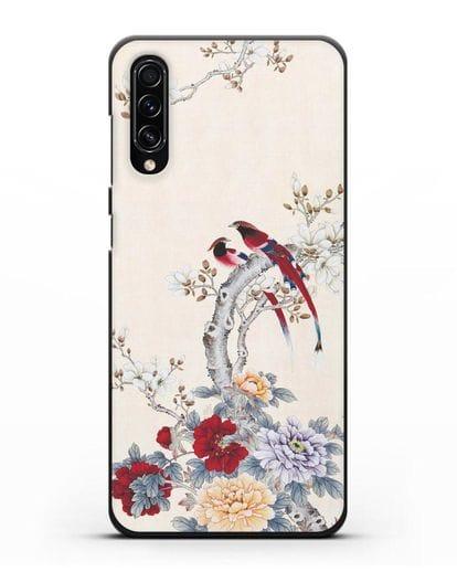 Чехол Цветы и птицы силикон черный для Samsung Galaxy A70s [SM-A707F]