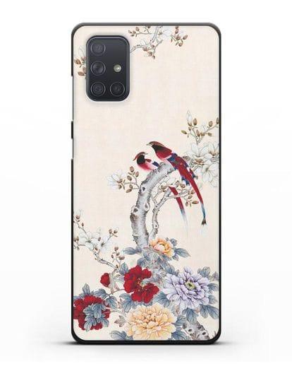 Чехол Цветы и птицы силикон черный для Samsung Galaxy A71 [SM-A715F]