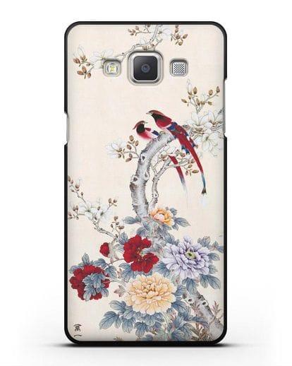 Чехол Цветы и птицы силикон черный для Samsung Galaxy A7 2015 [SM-A700F]