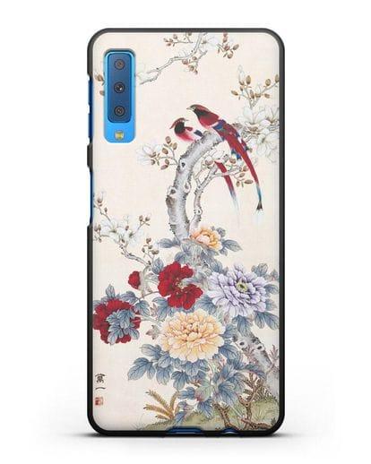 Чехол Цветы и птицы силикон черный для Samsung Galaxy A7 2018 [SM-A750F]