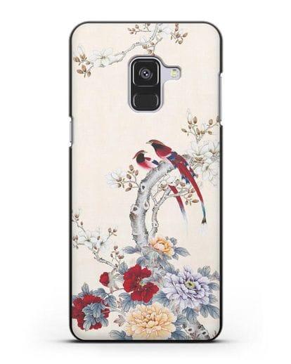 Чехол Цветы и птицы силикон черный для Samsung Galaxy A8 Plus [SM-A730F]