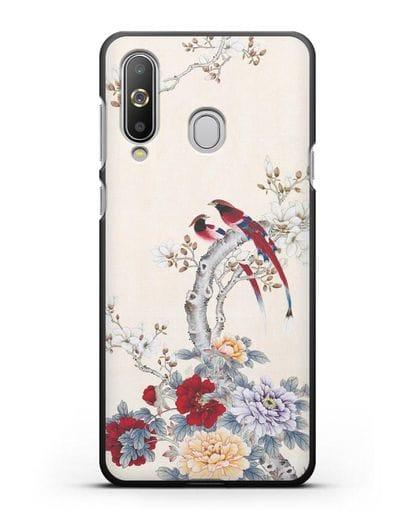 Чехол Цветы и птицы силикон черный для Samsung Galaxy A8s [SM-G8870]