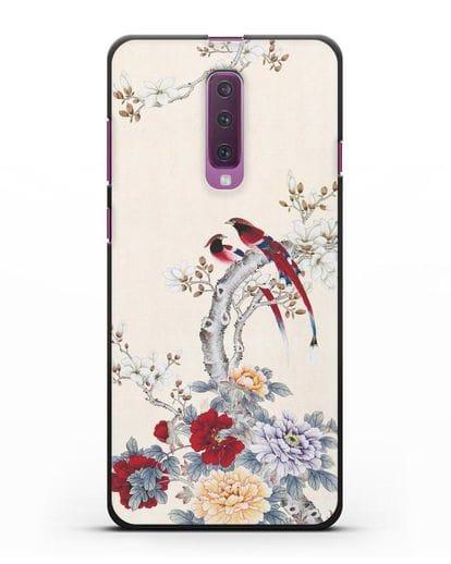 Чехол Цветы и птицы силикон черный для Samsung Galaxy A90 [SM-A908N]