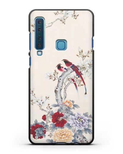 Чехол Цветы и птицы силикон черный для Samsung Galaxy A9 (2018) [SM-A920]