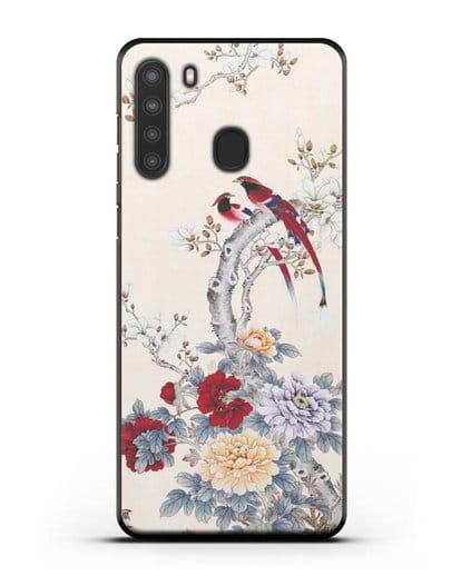Чехол Цветы и птицы силикон черный для Samsung Galaxy A21 [SM-A215]