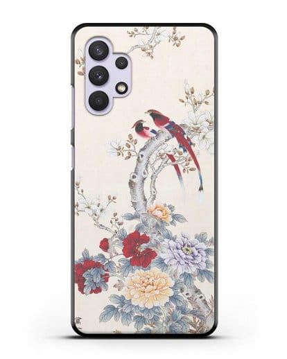 Чехол Цветы и птицы силикон черный для Samsung Galaxy A32 [SM-A325F]