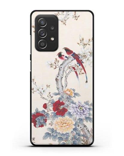 Чехол Цветы и птицы силикон черный для Samsung Galaxy A52 [SM-A525F]
