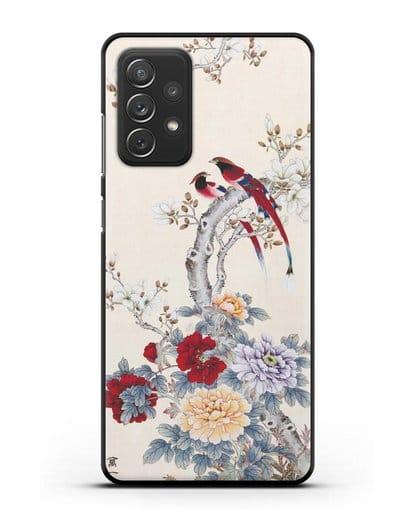 Чехол Цветы и птицы силикон черный для Samsung Galaxy A72 [SM-A725F]
