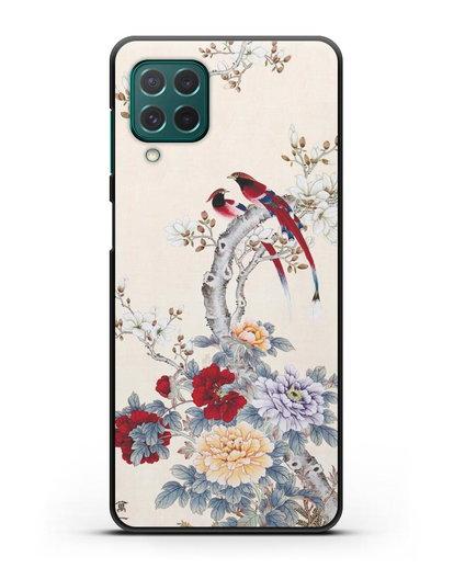 Чехол Цветы и птицы силикон черный для Samsung Galaxy M62 [SM-M625F]