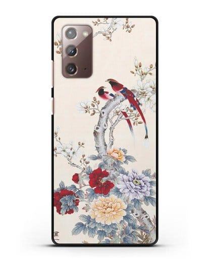 Чехол Цветы и птицы силикон черный для Samsung Galaxy Note 20 [SM-N980F]