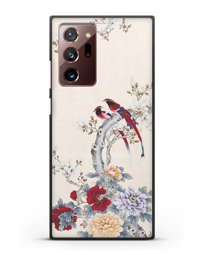 Чехол Цветы и птицы силикон черный для Samsung Galaxy Note 20 Ultra [SM-N985F]