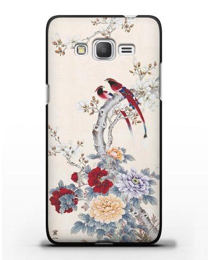Чехол Цветы и птицы силикон черный для Samsung Galaxy Grand Prime [SM-G530]