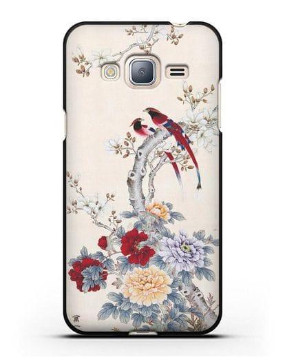 Чехол Цветы и птицы силикон черный для Samsung Galaxy J3 2016 [SM-J320F]