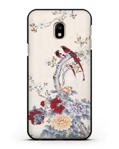 Чехол Цветы и птицы силикон черный для Samsung Galaxy J3 2017 [SM-J330F]