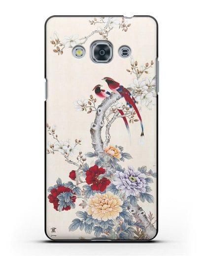 Чехол Цветы и птицы силикон черный для Samsung Galaxy J3 Pro [SM-J3110]
