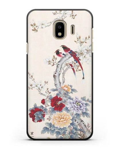 Чехол Цветы и птицы силикон черный для Samsung Galaxy J4 2018 [SM-J400F]
