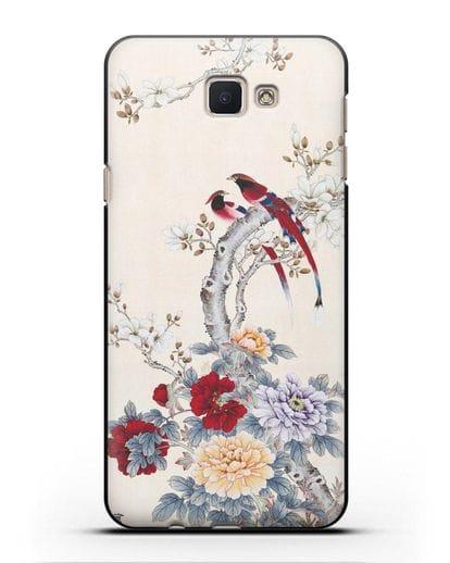 Чехол Цветы и птицы силикон черный для Samsung Galaxy J5 Prime [SM-G570]