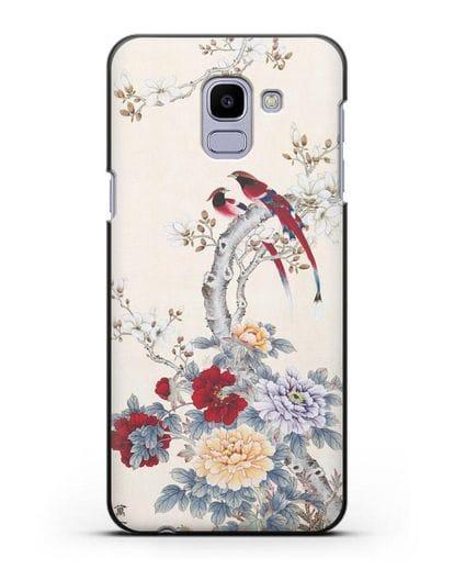 Чехол Цветы и птицы силикон черный для Samsung Galaxy J6 2018 [SM-J600F]