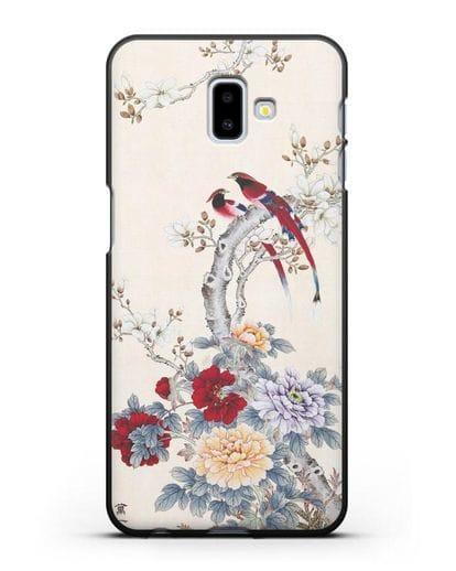 Чехол Цветы и птицы силикон черный для Samsung Galaxy J6 Plus [SM-J610F]