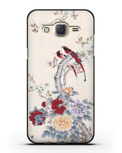Чехол Цветы и птицы силикон черный для Samsung Galaxy J7 2015 [SM-J700H]