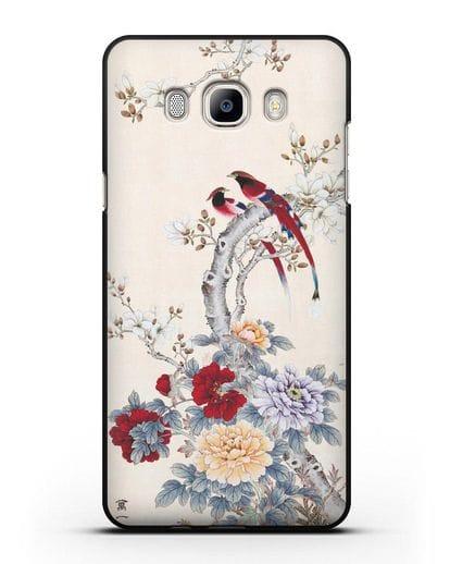 Чехол Цветы и птицы силикон черный для Samsung Galaxy J7 2016 [SM-J710F]