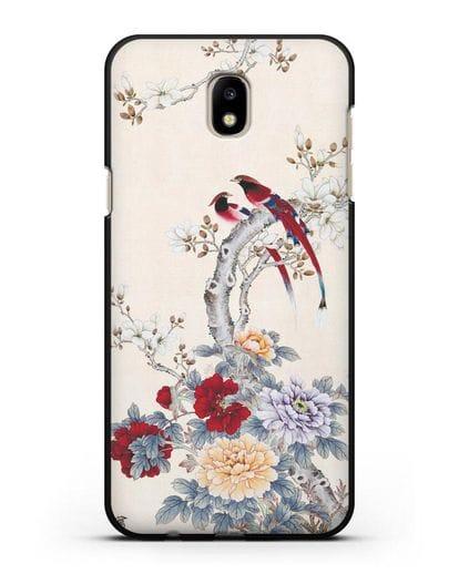 Чехол Цветы и птицы силикон черный для Samsung Galaxy J7 2017 [SM-J720F]