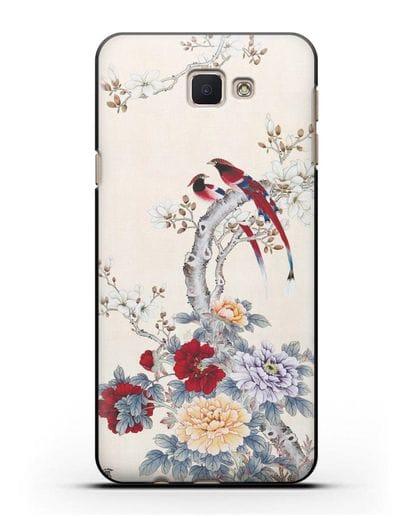 Чехол Цветы и птицы силикон черный для Samsung Galaxy J7 Prime [SM-G610F]