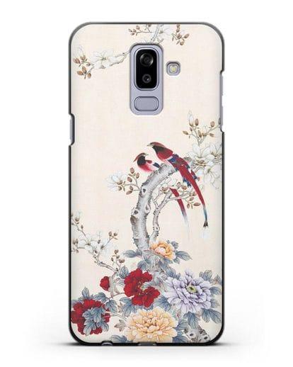 Чехол Цветы и птицы силикон черный для Samsung Galaxy J8 2018 [SM-J810F]