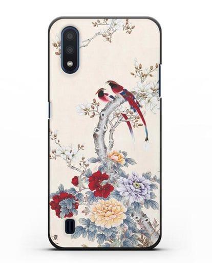 Чехол Цветы и птицы силикон черный для Samsung Galaxy M01 [SM-M015F]