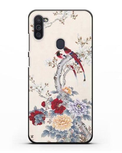 Чехол Цветы и птицы силикон черный для Samsung Galaxy M11 [SM-M115F]